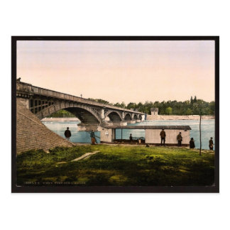 Bridge over the Allier, Vichy, France vintage Phot Post Cards