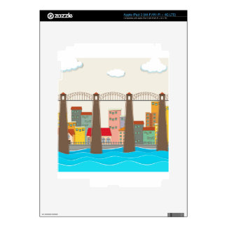 Bridge over the river and city decal for iPad 3