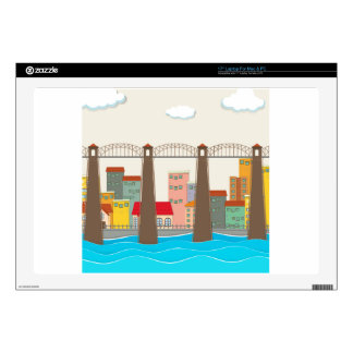 Bridge over the river and city laptop skins