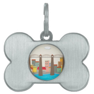 Bridge over the river and city pet ID tag