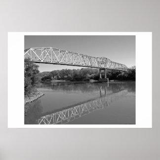 Bridge Over The River Missouri (B & W) Poster