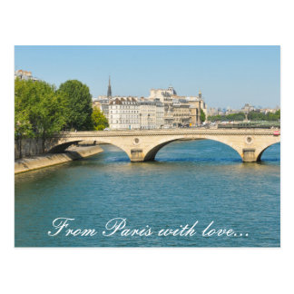 Bridge over the river Seine in Paris, France Postcard