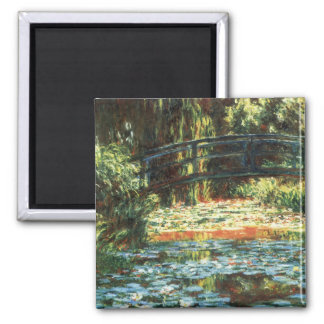 Bridge Over the Waterlily Pond by Claude Monet 2 Inch Square Magnet