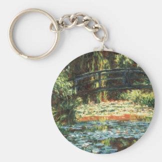 Bridge Over the Waterlily Pond by Claude Monet Basic Round Button Keychain