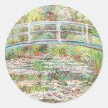 Bridge Over Water Lilies Pond - Claude Monet Round Stickers