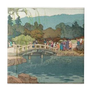 Bridge Over Water Vintage Japanese Art Ukiyo-E Tile