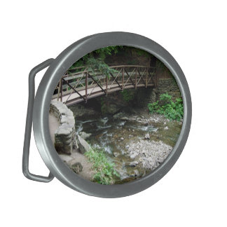 Bridge Over Wolf Creek Closeup Oval Belt Buckle