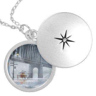 Bridge painting,Raining on the bridge Silver Plated Necklace