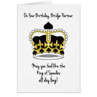 Bridge Partner Birthday-King of Spades Card