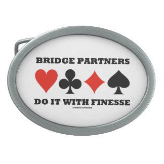 Bridge Partners Do It With Finesse (Card Suits) Oval Belt Buckle
