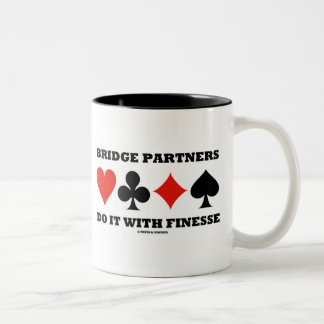 Bridge Partners Do It With Finesse (Card Suits) Two-Tone Coffee Mug