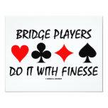 "Bridge Players Do It With Finesse (Bridge Humor) 4.25"" X 5.5"" Invitation Card"