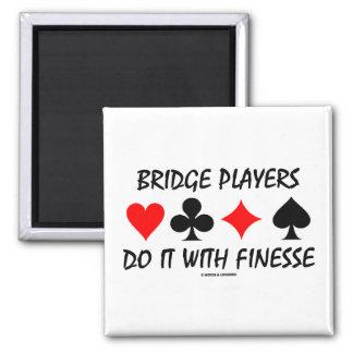 Bridge Players Do It With Finesse (Bridge Humor) 2 Inch Square Magnet