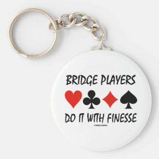 Bridge Players Do It With Finesse Four Card Suits Keychain