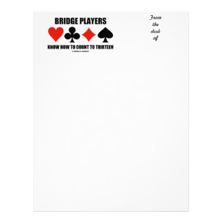 Bridge Players Know How To Count To Thirteen Letterhead