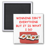 bridge poker and card players 2 inch square magnet