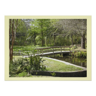 Bridge, Pond, and Forest Path Poster