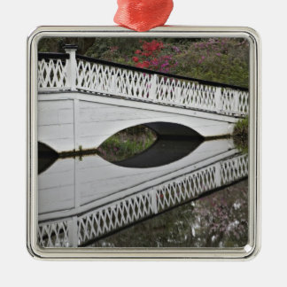 Bridge reflecting on pond, Magnolia Metal Ornament