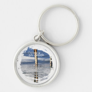 Bridge Reflection; Customizable Silver-Colored Round Keychain