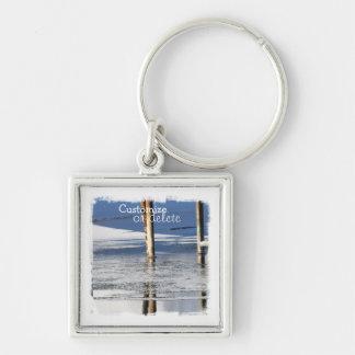 Bridge Reflection; Customizable Silver-Colored Square Keychain