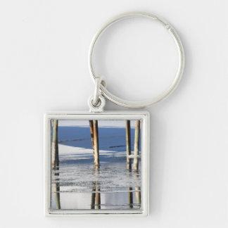 Bridge Reflection Silver-Colored Square Keychain