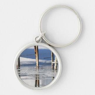 Bridge Reflection Silver-Colored Round Keychain