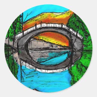 Bridge Reflection Marker #2 Colored Classic Round Sticker