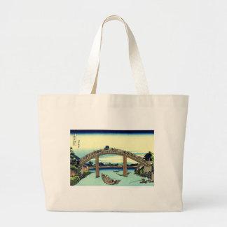 Bridge River Japan Shinto Boats Travel Landmark Large Tote Bag