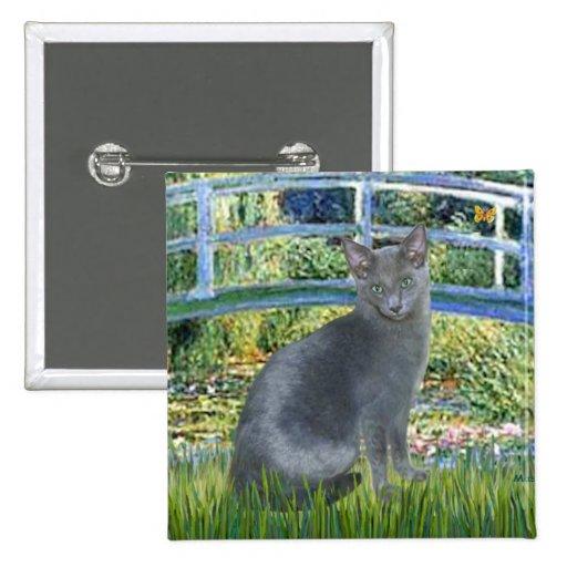 Bridge - Russian Blue cat 2 2 Inch Square Button