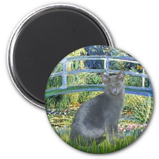 Bridge - Russian Blue cat 2 Magnet