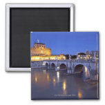 Bridge Sant Angelo and Castel Sant Angelo at 2 Inch Square Magnet