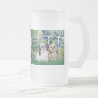 Bridge - Shih Tzu (two - A+Y) Frosted Glass Beer Mug