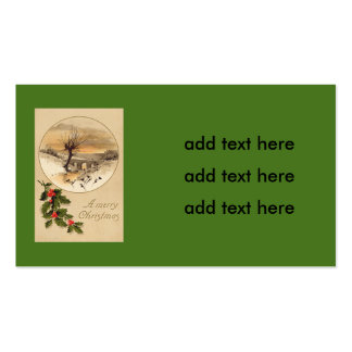 Bridge Snow Wintry Scene Holly Double-Sided Standard Business Cards (Pack Of 100)