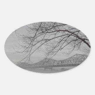Bridge spanning Ohio River Oval Sticker