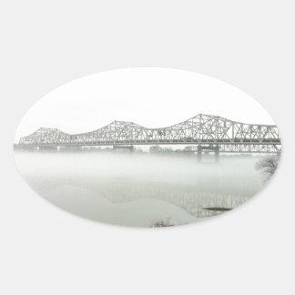 Bridge spanning the Ohio River Oval Sticker