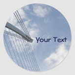 Bridge Spine And Cables Construction Art Classic Round Sticker at Zazzle