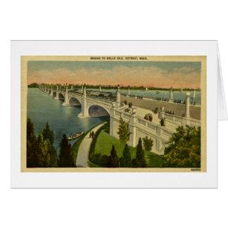 Bridge to Belle Isle Detroit, Michigan, Vintage Card