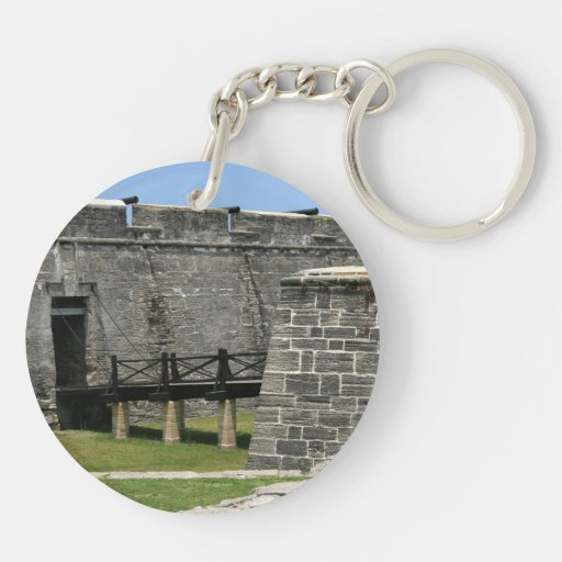 Bridge to St Augustine Fort across moat Round Acrylic Keychains