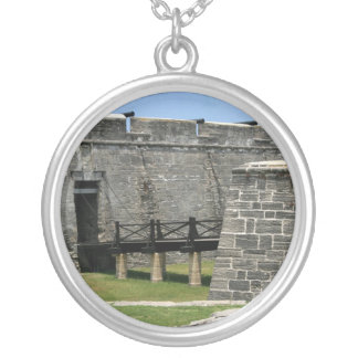 Bridge to St Augustine Fort across moat Round Pendant Necklace