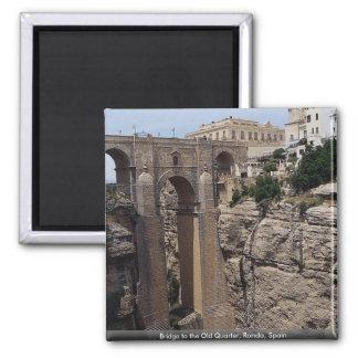 Bridge to the Old Quarter, Ronda, Spain 2 Inch Square Magnet