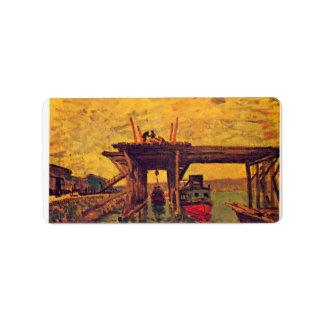 Bridge under construction by Alfred Sisley Address Label