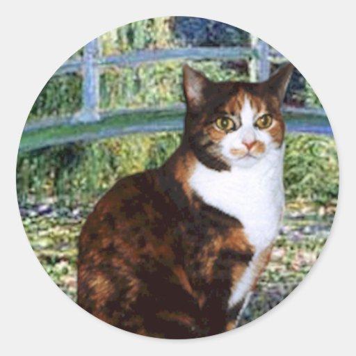 Bridge (Vert) - Calico cat 36 Round Stickers