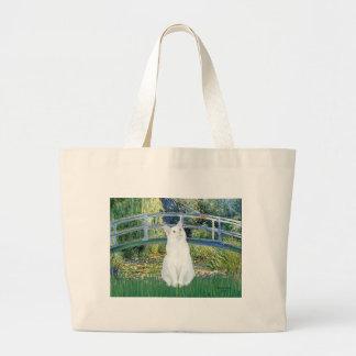 Bridge - White short haired cat Large Tote Bag