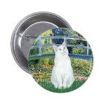 Bridge - White short haired cat Pins