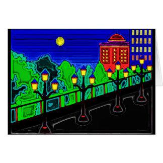 Bridge with Lamp Posts Greeting Card
