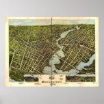 Bridgeport Connecticut 1875 Antique Panoramic Map Poster