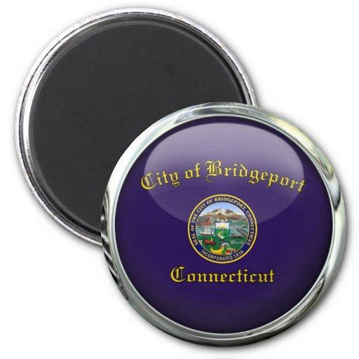 Bridgeport Flag Glass Ball 2 Inch Round Magnet