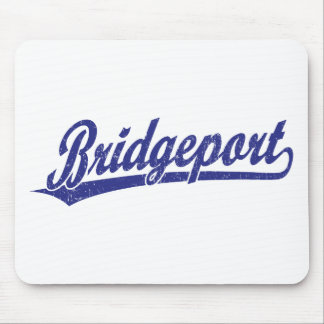 Bridgeport script logo in blue mouse pads