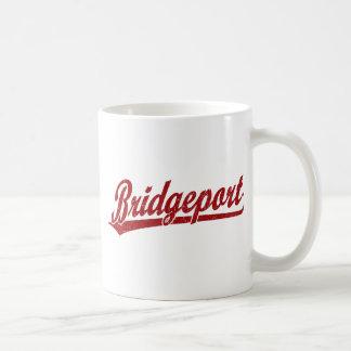 Bridgeport script logo in red coffee mug
