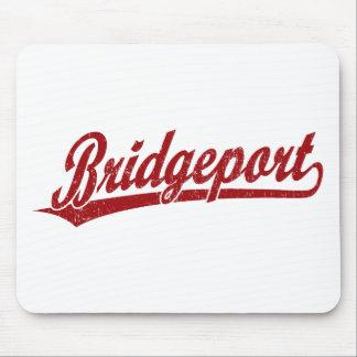 Bridgeport script logo in red mouse pads